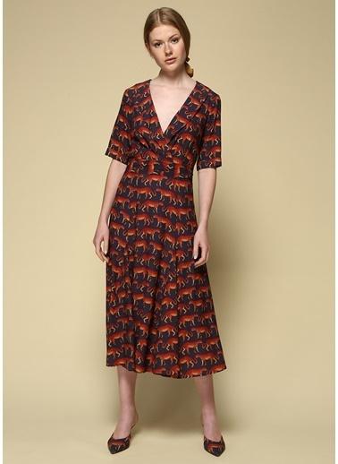 Faraway V Yaka Desenli Midi Elbise Lacivert